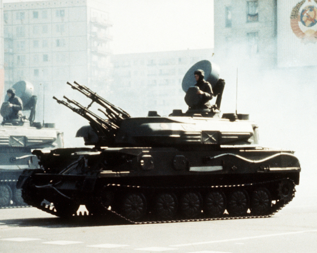 ZSU-23-4 self-propelled anti-aircraft gun. (Courtesy of Soviet Military Power, 1984, Photo No. 52, Page 54, right)